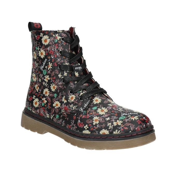 Dívčí obuv s květovaným vzorem bata-girl, černá, 321-6609 - 13