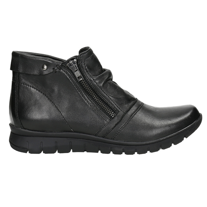 Kožená kotníčková obuv se zipy bata, černá, 594-6642 - 15