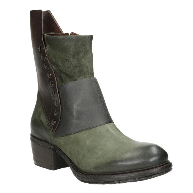 Kožené kozačky na nízkém podpatku a-s-98, zelená, 616-3035 - 13