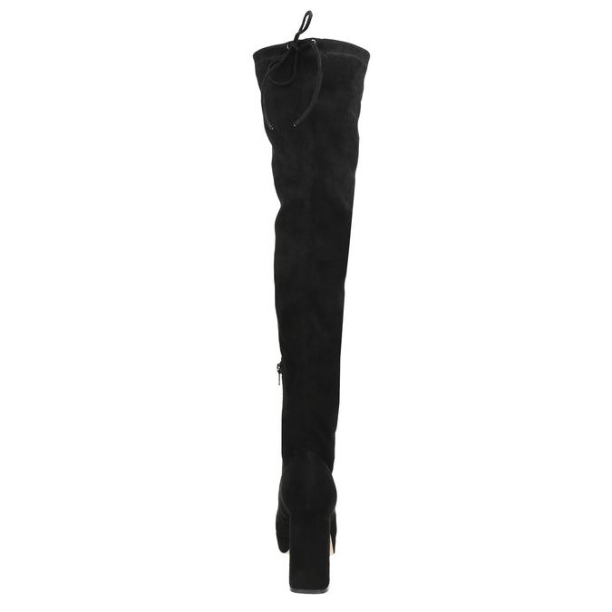 Černé dámské kozačky nad kolena bata, černá, 799-6663 - 17