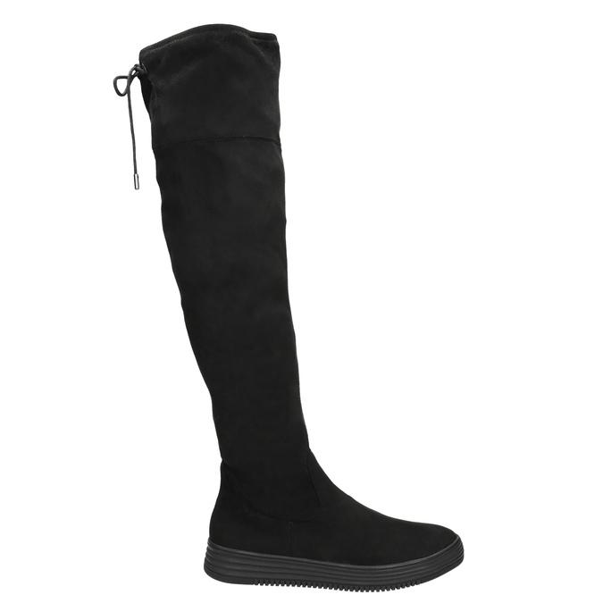 Dámské černé kozačky nad kolena bata, černá, 699-6634 - 15