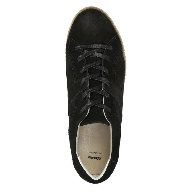Kožené tenisky na výrazné flatformě bata, černá, 523-6604 - 26