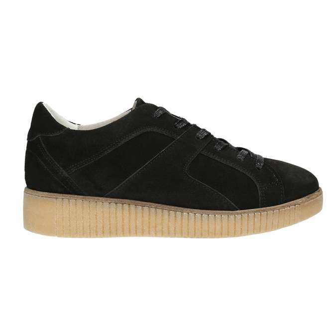Kožené tenisky na výrazné flatformě bata, černá, 523-6604 - 15