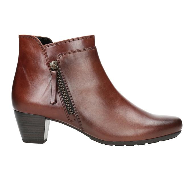 Kožená kotníčková obuv na nízkém podpatku gabor, hnědá, 616-3112 - 26