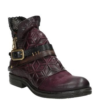 Kožená kotníčková obuv s přezkou a-s-98, fialová, 516-5092 - 13