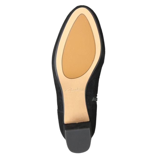 Kožená kotníčková obuv na podpatku clarks, černá, 713-6035 - 17