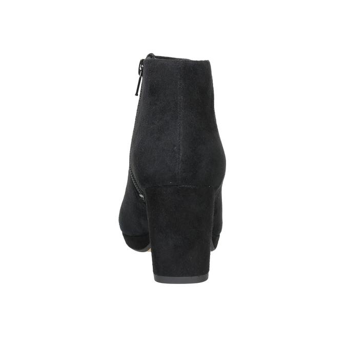 Kožená kotníčková obuv na podpatku clarks, černá, 713-6035 - 16