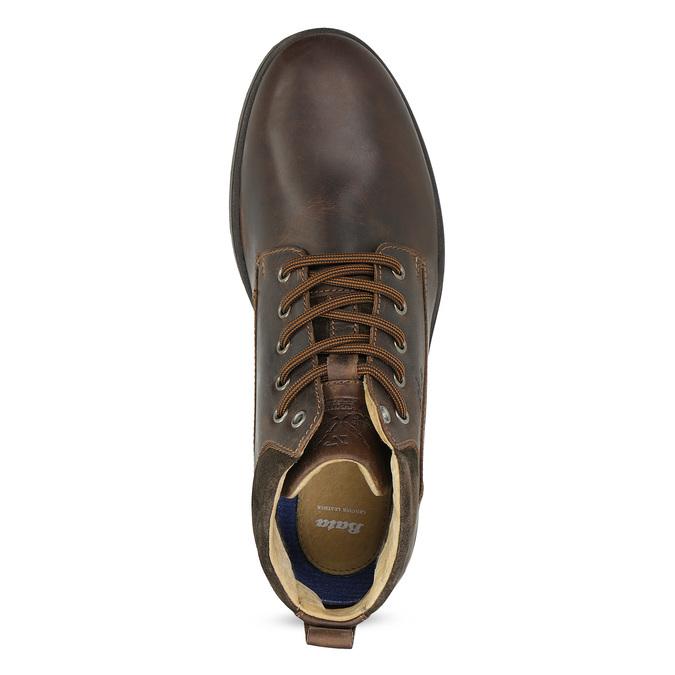 Pánská kožená kotníková obuv s prošitím bata, hnědá, 846-4645 - 17