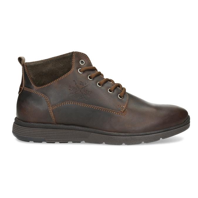 Pánská kožená kotníčková obuv s prošitím bata, hnědá, 846-4645 - 19