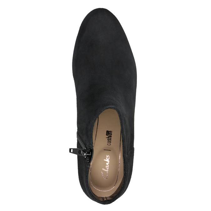 Kožená kotníčková obuv na podpatku clarks, černá, 713-6035 - 15