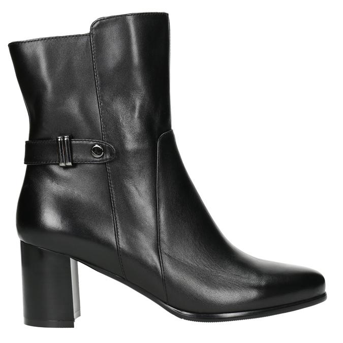 Kožené kotníčkové kozačky na podpatku bata, černá, 696-6648 - 15