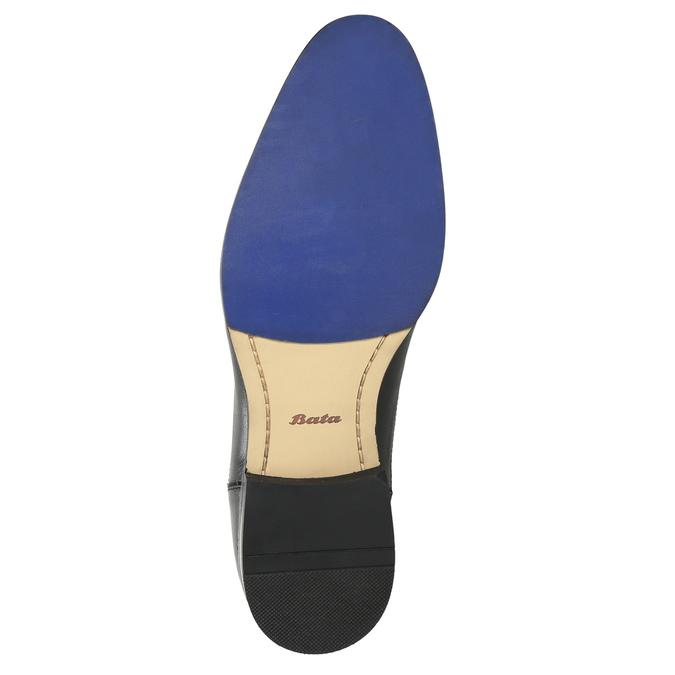 Kožené polobotky s modrým prošitím bata, černá, 826-6915 - 19