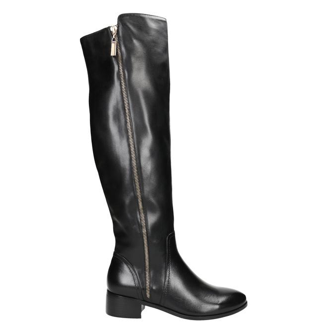 Kožené dámské kozačky se zipem bata, černá, 594-6653 - 15