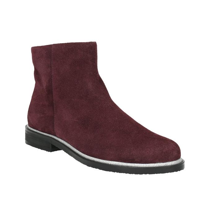 Kotníčková obuv z broušené kůže bata, červená, 593-5603 - 13