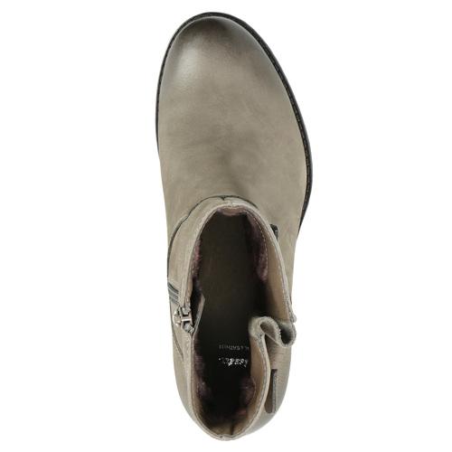 Kožené kotníčkové kozačky s přezkou bata, šedá, 696-2621 - 19