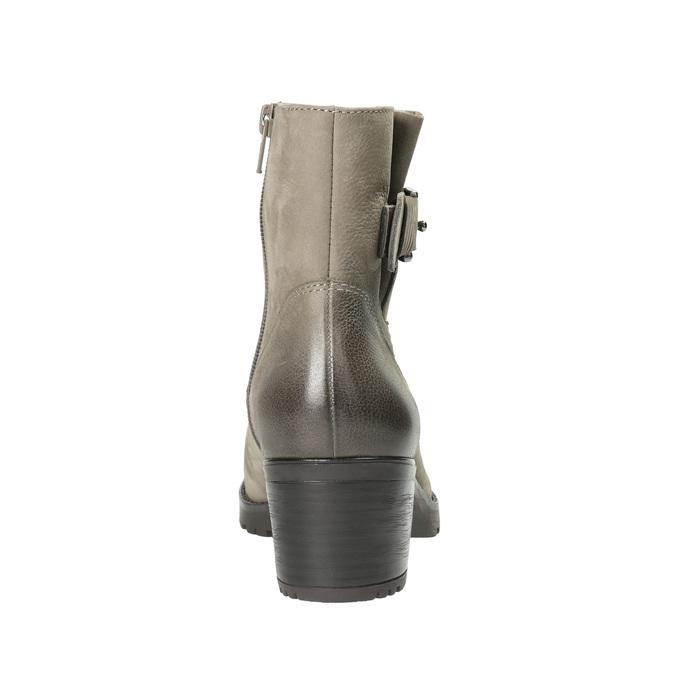 Kožené kotníčkové kozačky s přezkou bata, šedá, 696-2621 - 17