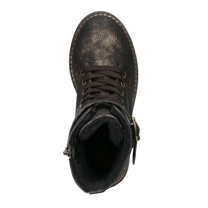 Dětská zimní obuv s výšivkou mini-b, hnědá, 391-8654 - 26