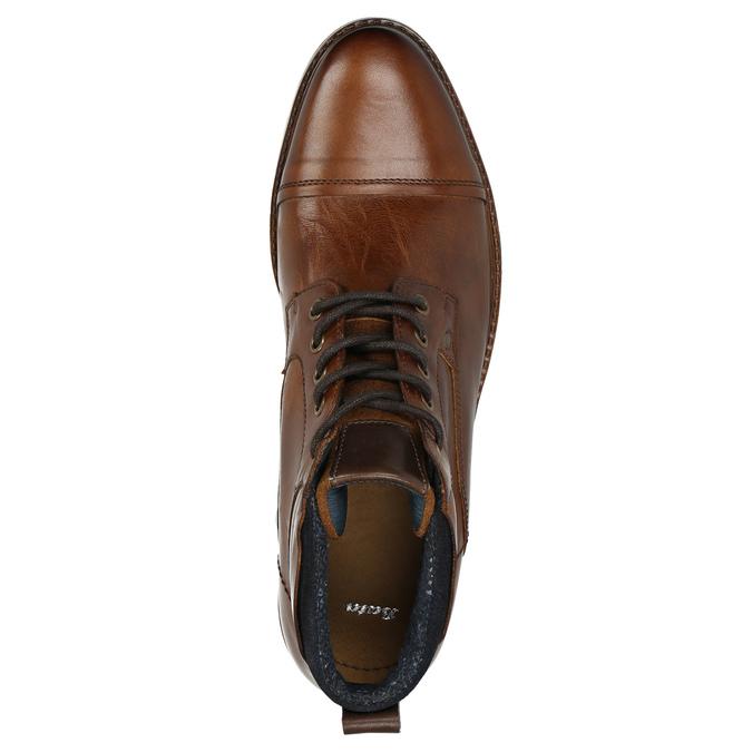 Kožená kotníčková obuv hnědá bata, hnědá, 896-3674 - 26