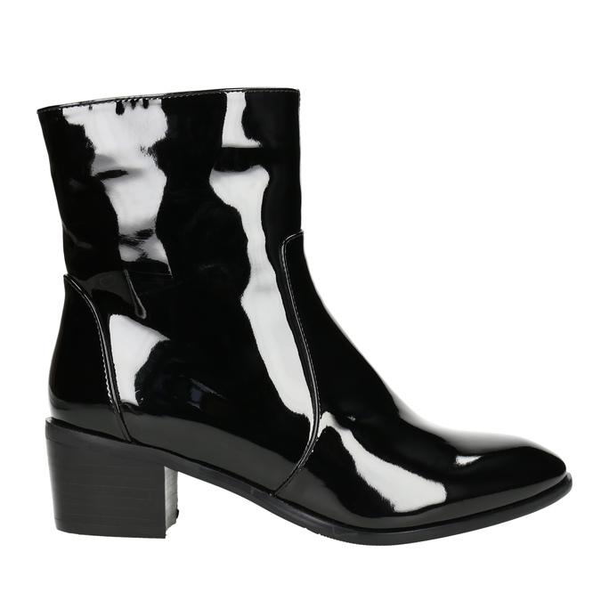 Kotníčková obuv v lakovaném provedení bata, černá, 691-6630 - 15