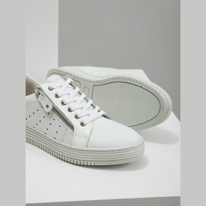 Kožené dámské tenisky se zipem bata, bílá, 526-2630 - 14
