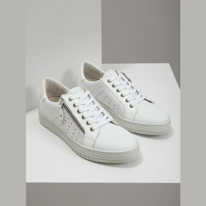 Kožené dámské tenisky se zipem bata, bílá, 526-2630 - 18