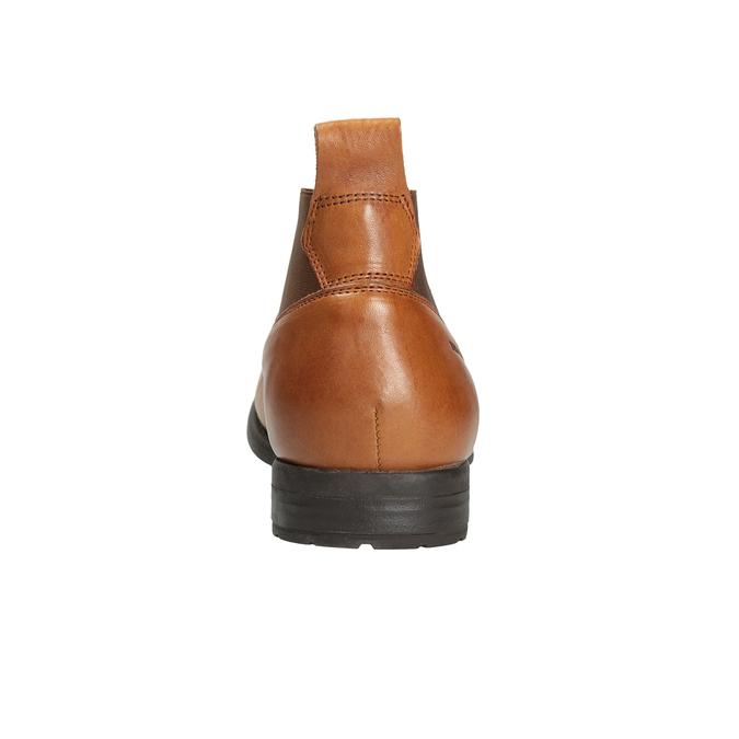 Kožená kotníčková obuv s pružnými boky ten-points, hnědá, 816-3036 - 16