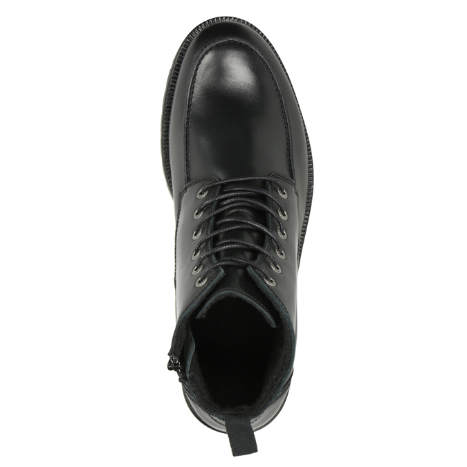 Kožená kotníčková obuv s prošitím na špici ten-points, černá, 896-6029 - 15