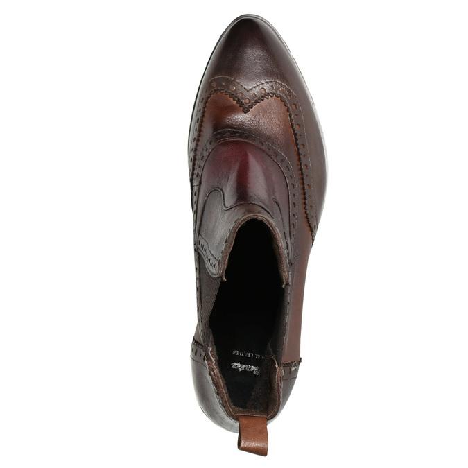Dámské kožené Chelsea s Brogue zdobením bata, hnědá, 596-4683 - 15