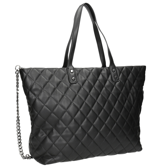 Prošívaná kabelka s řetízkem bata, černá, 961-6139 - 13