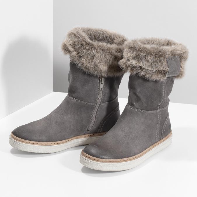 Kožená vycházková obuv s kožíškem weinbrenner, šedá, 596-2633 - 16