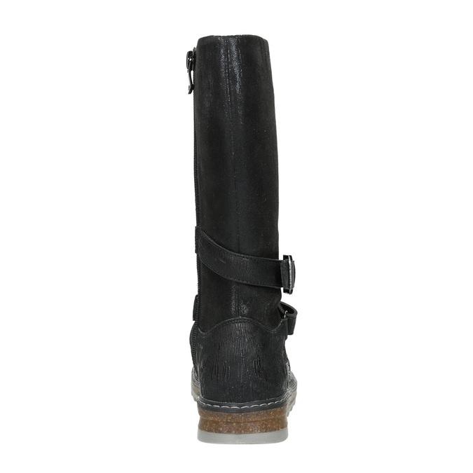 Dívčí kozačky s masivní podešví mini-b, černá, 391-6657 - 16