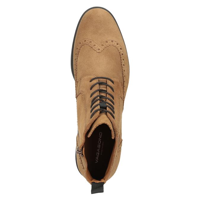 Kožená pánská kotníčková obuv vagabond, hnědá, 823-3016 - 15