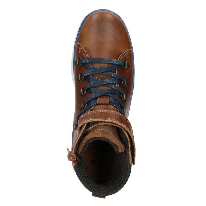 Dětská kožená kotníčková obuv bullboxer, hnědá, 494-3024 - 15