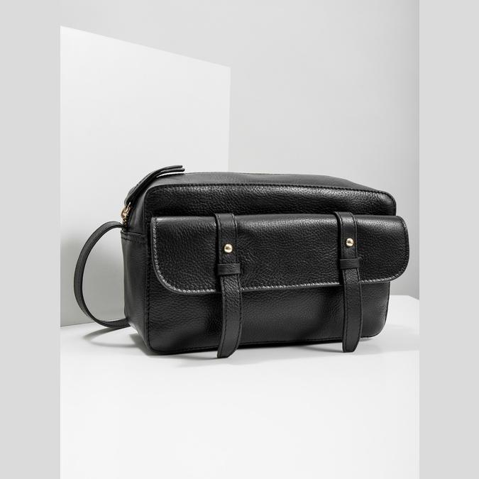 Kožená černá Crossbody bata, černá, 964-6282 - 18