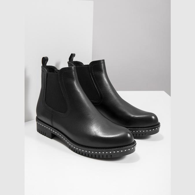 Dámské kožené Chelsea s masivní podešví bata, černá, 596-6677 - 18