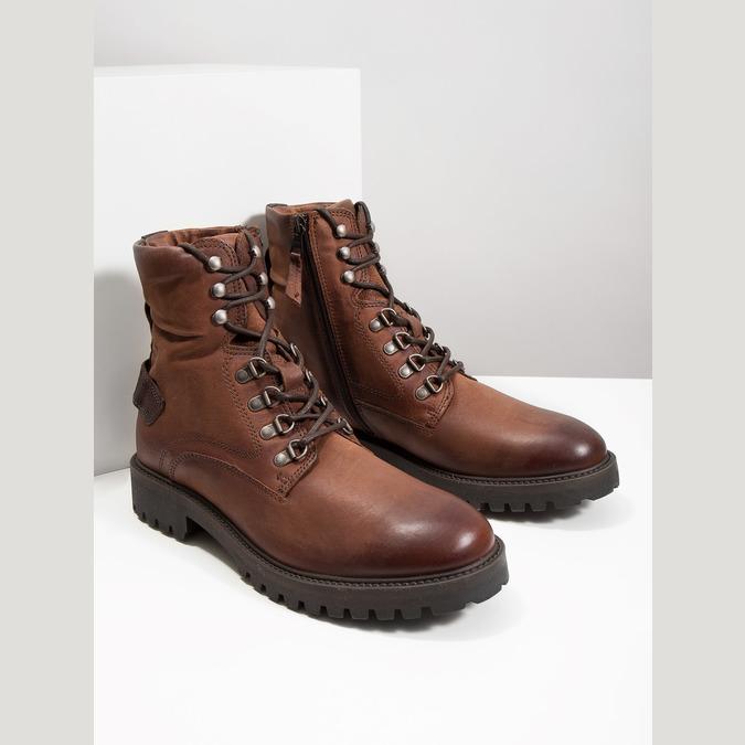 Kožená kotníčková obuv bata, hnědá, 896-3663 - 18