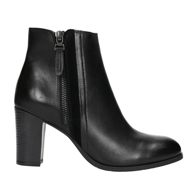 Kožené kotníčkové boty na podpatku bata, černá, 794-6642 - 15