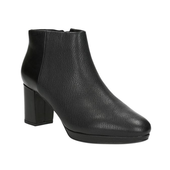Kožené kotníčkové boty na podpatku clarks, černá, 714-6036 - 13