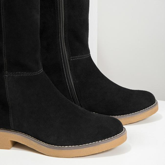 Kožené dámské kozačky bata, černá, 593-6606 - 14