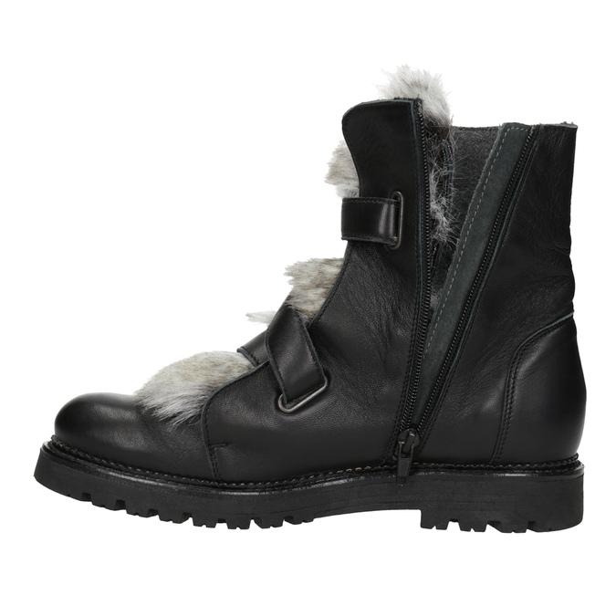 Kožená kotníčková obuv s kožíškem bata, černá, 594-6656 - 15