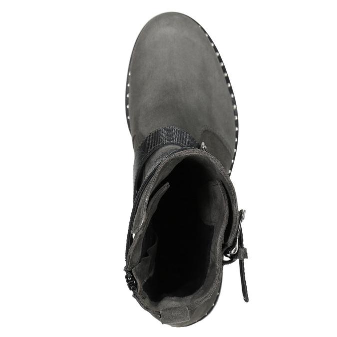 Dámské kozačky s přezkami bata, šedá, 593-2610 - 15