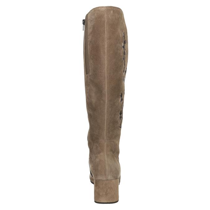 Kožené kozačky s výšivkou šíře M gabor, hnědá, 693-3021 - 16