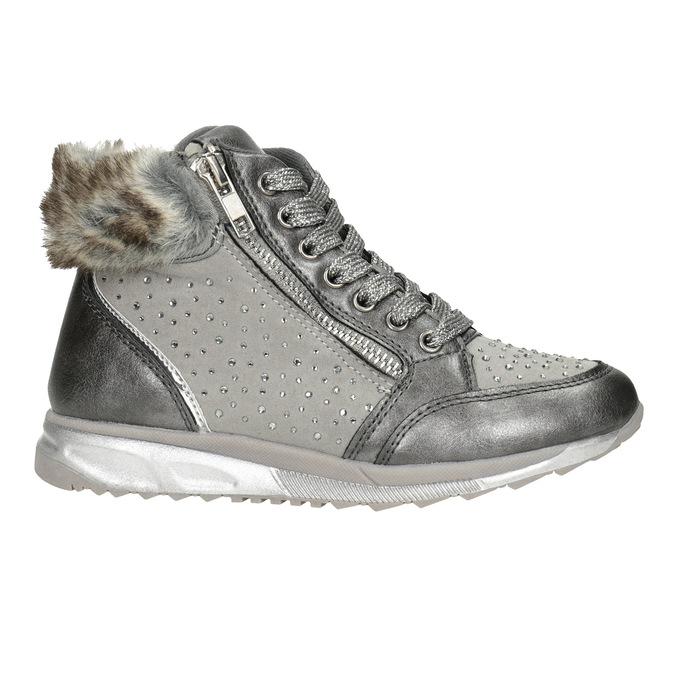 Stříbrná dívčí zimní obuv mini-b, šedá, 329-2287 - 26
