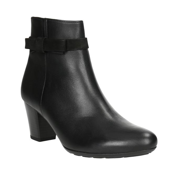 Kožená kotníčková obuv s mašlí gabor, černá, 714-6031 - 13