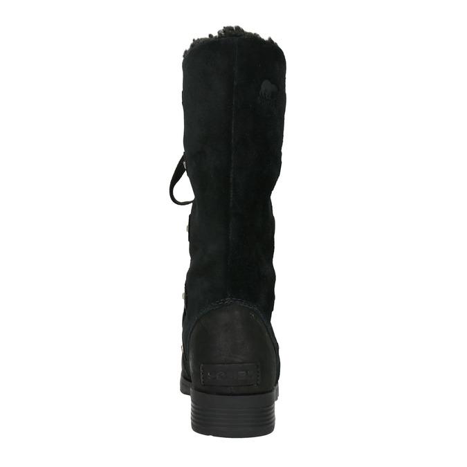 Kožené dámské kozačky se šněrováním sorel, černá, 693-6065 - 16
