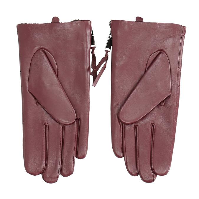 Vínové kožené rukavice se zipem bata, červená, 904-5108 - 16