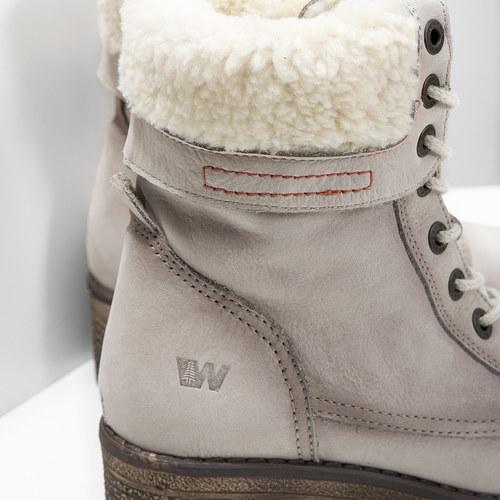 Kožená zimní obuv s kožíškem bata, béžová, 696-3336 - 14
