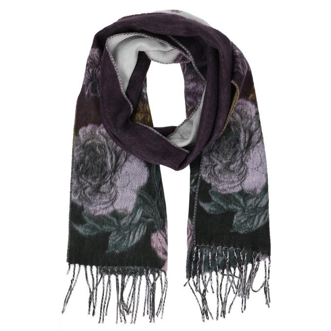 Dámská šála s květinovým vzorem bata, fialová, 909-9643 - 13