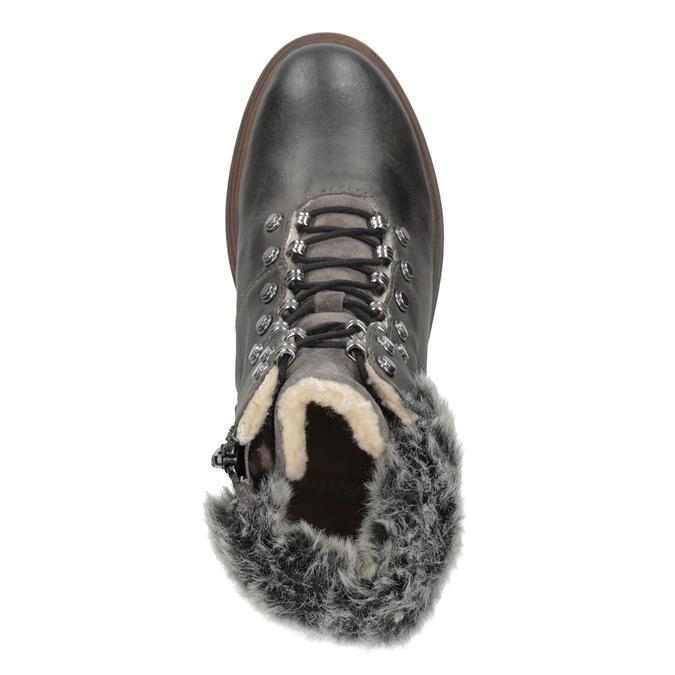 Kožená zimní obuv s kožíškem bata, šedá, 594-6650 - 17