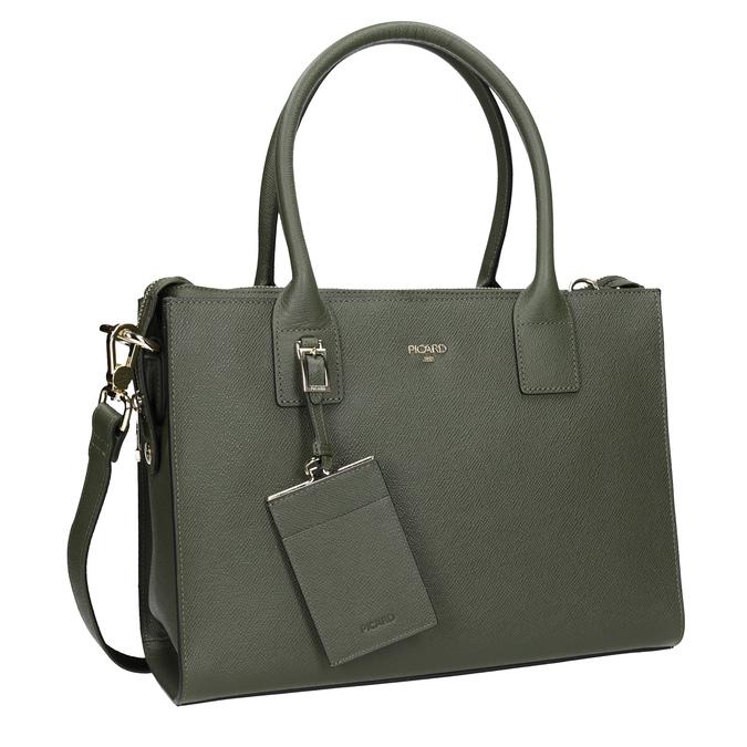 Kožená kabelka s popruhem picard, zelená, 966-7039 - 13